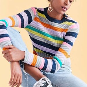 Silence + Noise rainbow striped sweater